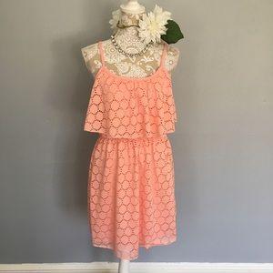 Bailey Blue // Pink Eyelet Ruffle Tank Dress L